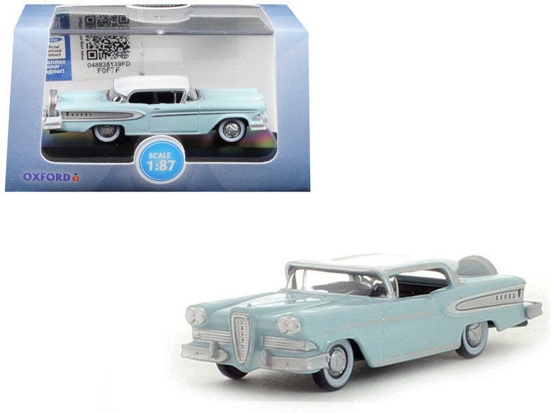 1958 Edsel Citation Ice Green Snow White Top 1/87 HO Scale Diecast Model Car Oxford Diecast 87ED58005