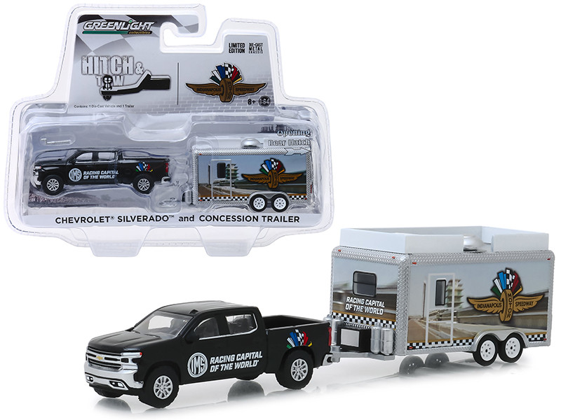 Chevrolet Silverado Pickup Truck Concession Trailer Indianapolis Motor Speedway Hitch & Tow Hobby Exclusive 1/64 Diecast Model Car Greenlight 30034