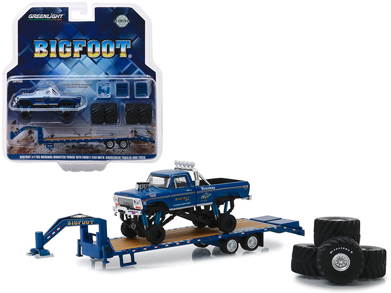 1974 Ford F-250 Monster Truck Bigfoot #1 The Original Monster Truck 1979 Gooseneck Trailer Regular Replacement 66 Tires Hobby Exclusive 1/64 Diecast Model Car Greenlight 30054