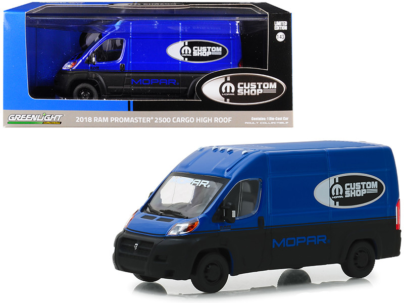 2018 Dodge Ram ProMaster 2500 Cargo Van High Roof Blue Black MOPAR Custom Shop 1/43 Diecast Model Car Greenlight 86155