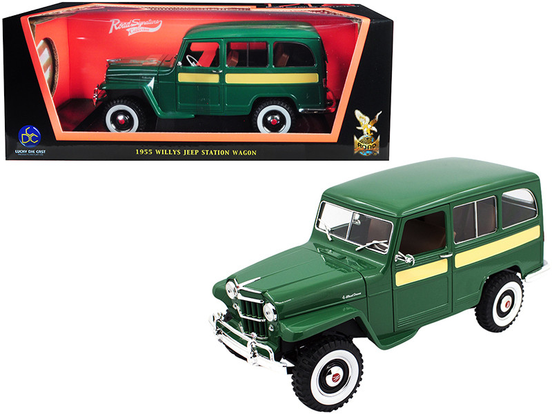 1955 Willys Jeep Station Wagon Green Yellow Stripes 1/18 Diecast Model Car Road Signature 92858