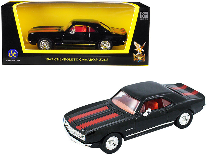 1967 Chevrolet Camaro Z-28 Black Red Stripes 1/43 Diecast Model Car Road Signature 94216