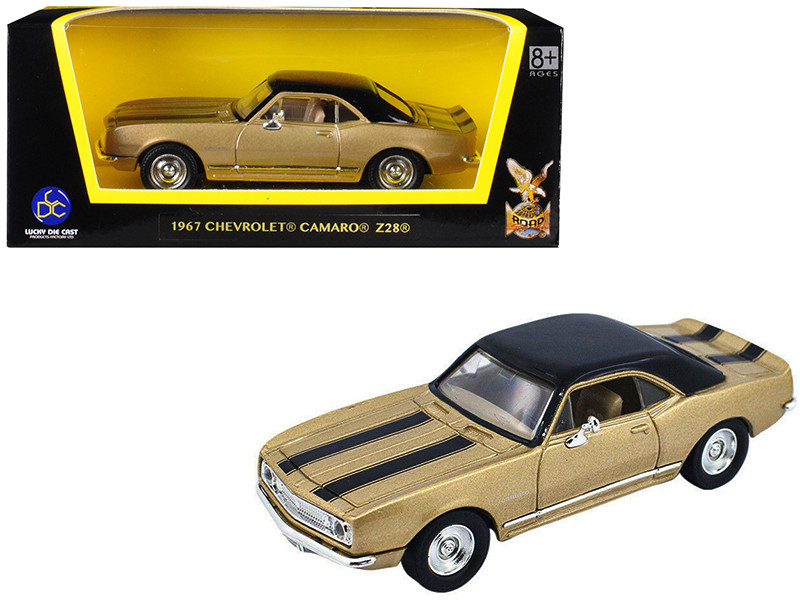 1967 Chevrolet Camaro Z-28 Gold Black Stripes Black Top 1/43 Diecast Model Car Road Signature 94216