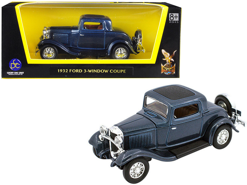 1932 Ford 3 Window Coupe Metallic Dark Blue 1/43 Diecast Car Model Road Signature 94231