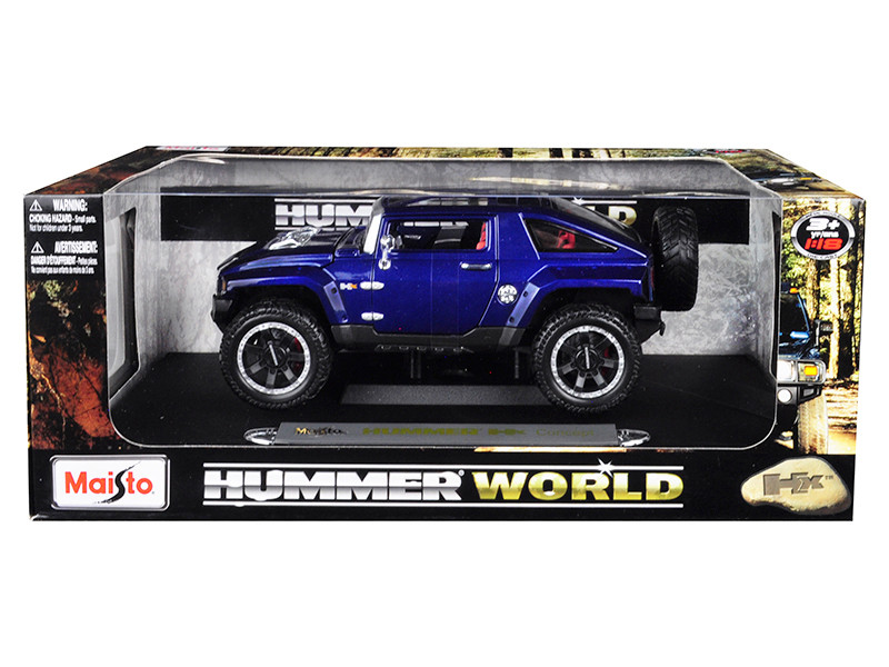 Hummer HX Concept Dark Blue Metallic Hummer World 1/18 Diecast Model Car Maisto 32117