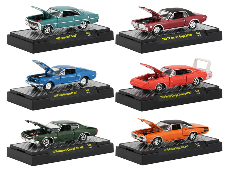 Detroit Muscle Release 48 Set 6 Cars DISPLAY CASES 1/64 Diecast Model Cars M2 Machines 32600-48