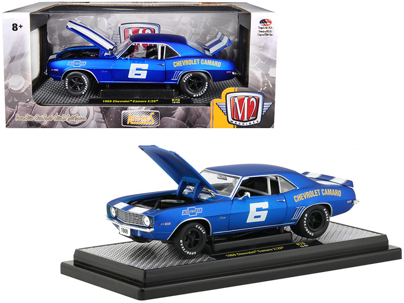 1969 Chevrolet Camaro Z/28 #6 Satin Royal Blue Bright White Stripes Auto-Mods Limited Edition 5880 pieces Worldwide 1/24 Diecast Model Car M2 Machines 40300-70 A