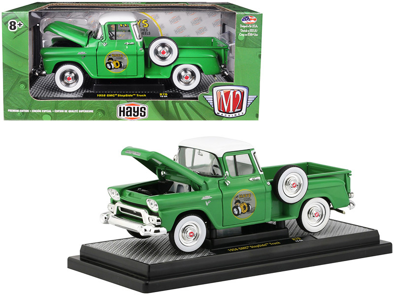 1958 GMC Stepside Pickup Truck Aspen Green Bright White Top HAYS Limited Edition 5880 pieces Worldwide 1/24 Diecast Model Car M2 Machines 40300-70 B