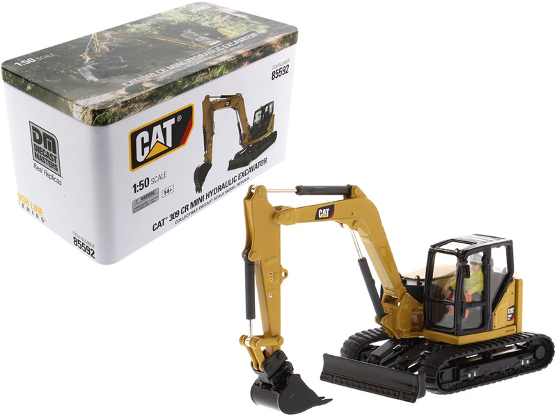 CAT Caterpillar 309 CR Next Generation Mini Hydraulic Excavator Work Tools Operator High Line Series 1/50 Diecast Model Diecast Masters 85592