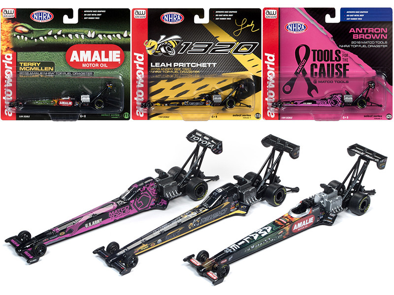 NHRA Top Fuel Dragster 2019 Release 1 Set 3 Funny Cars 1/64 Diecast Models Autoworld AW64005