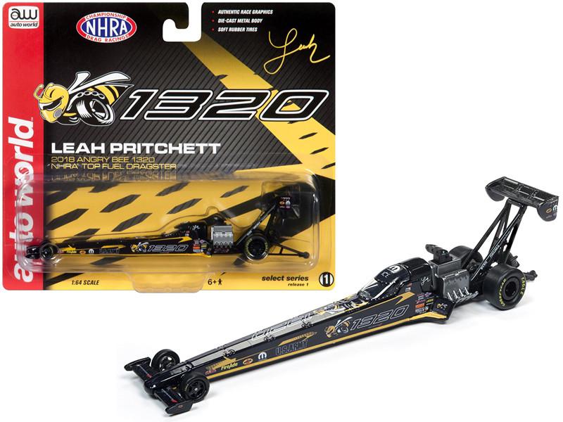 2018 Funny Car NHRA Leah Pritchett Angry Bee 1320 TFD 1/64 Diecast Model Car Autoworld AWSP021