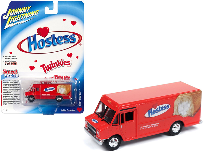1990 GMC Delivery Step Van Hostess Red Limited Edition 1416 pieces Worldwide 1/87 HO Scale Diecast Model Johnny Lightning JLSP062