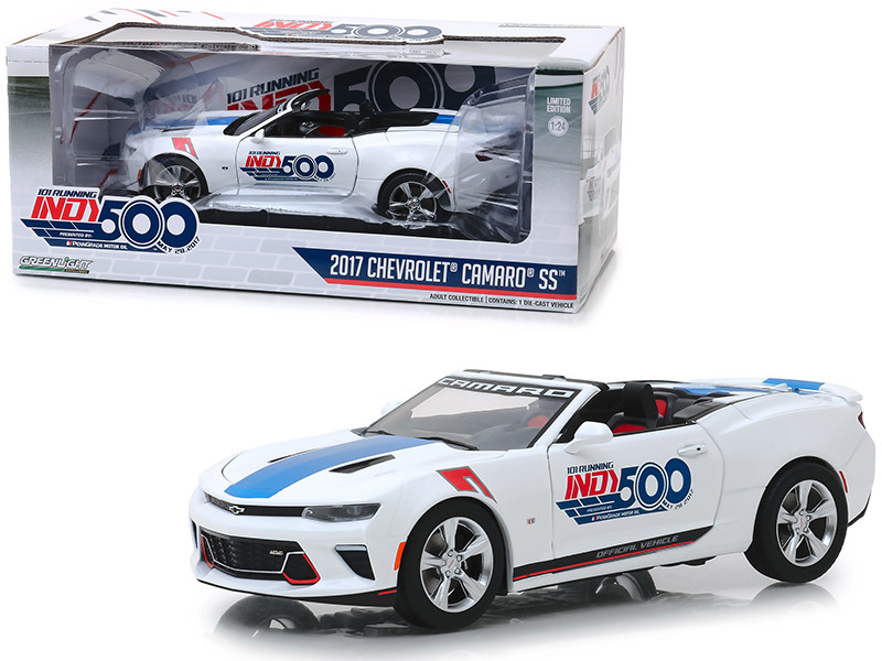 2017 Chevrolet Camaro SS Convertible White 101 Running Indy 500 Presented PennGrade Motor Oil 500 Festival Event Car 1/24 Diecast Model Car Greenlight 18247
