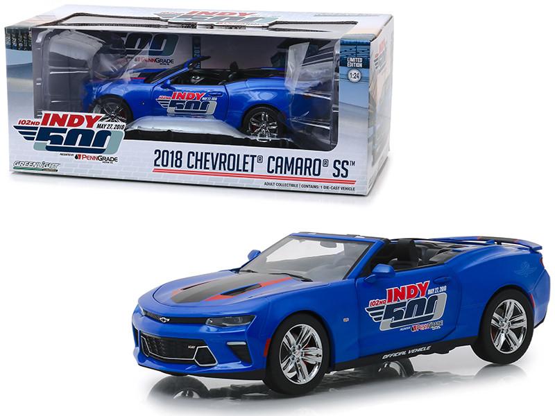 2018 Chevrolet Camaro SS Convertible Blue 102nd Indy 500 Presented PennGrade Motor Oil 500 Festival Event Car 1/24 Diecast Model Car Greenlight 18248