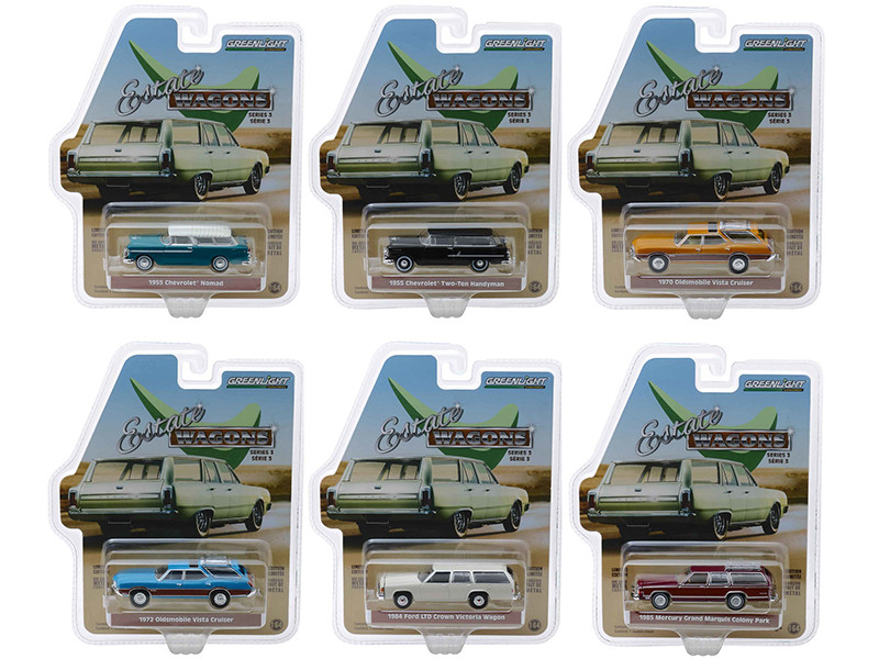 Estate Wagons Series 3 Set 6 Cars 1/64 Diecast Models Greenlight 29950