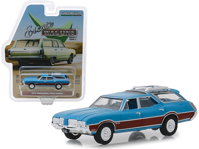 1972 Oldsmobile Vista Cruiser Wood Grain Paneling Roof Rack Viking Blue Estate Wagons Series 3 1/64 Diecast Model Car Greenlight 29950 D