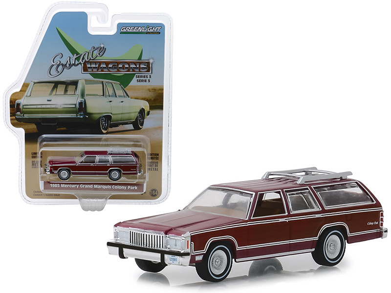 1985 Mercury Grand Marquis Colony Park Roof Rack Burgundy Estate Wagons Series 3 1/64 Diecast Model Car Greenlight 29950 F