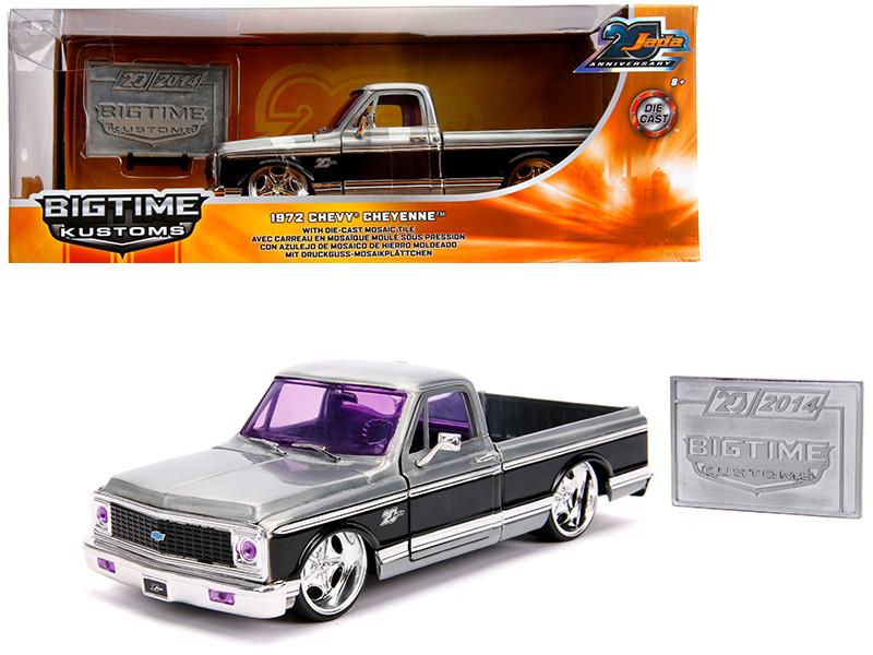 1972 Chevrolet Cheyenne Pickup Truck Raw Metal Black Stripe Kustom Kings Jada 20th Anniversary 1/24 Diecast Model Car Jada 31074