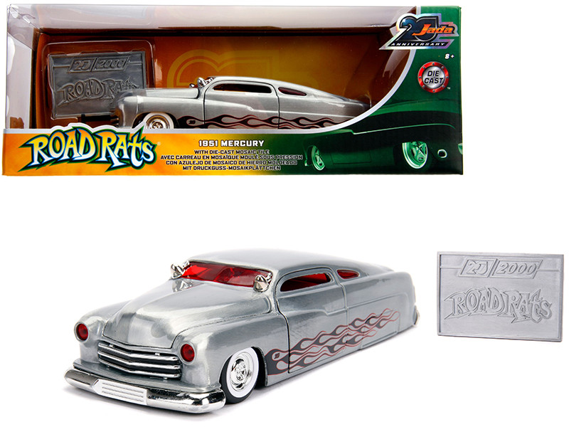 1951 Mercury Raw Metal Flames Road Rats Jada 20th Anniversary 1/24 Diecast Model Car Jada 31080