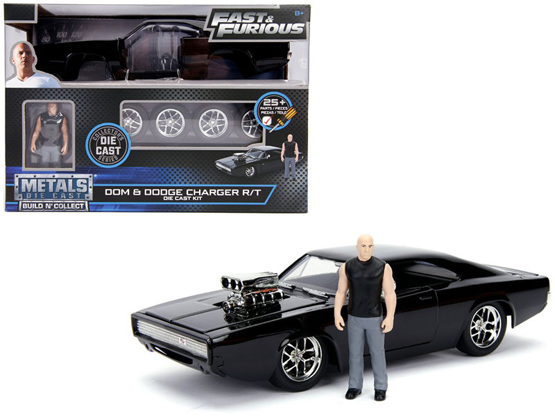 Model Kit Dodge Charger R/T Black Dom Diecast Figure Fast & Furious Movie Build N' Collect 1/24 Diecast Model Car Jada 30698