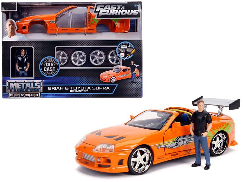 Model Kit Toyota Supra Metallic Orange Brian Diecast Figure Fast & Furious Movie Build N' Collect 1/24 Diecast Model Car Jada 30699