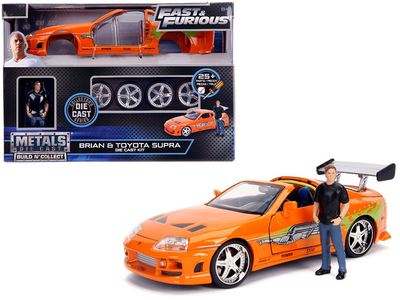 Model Kit Toyota Supra Metallic Orange Brian Diecast Figure Fast & Furious Movie Build N' Collect 1/24 Diecast Model Car Jada 30699