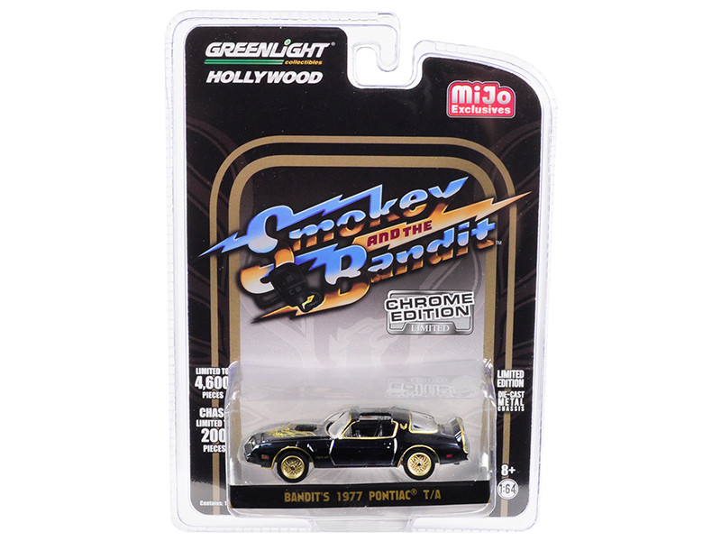 1977 Pontiac Firebird Trans Am Bandit's Black Chrome Smokey and the Bandit 1977 Movie Limited Edition 4600 pieces Worldwide 1/64 Diecast Model Car Greenlight 51223