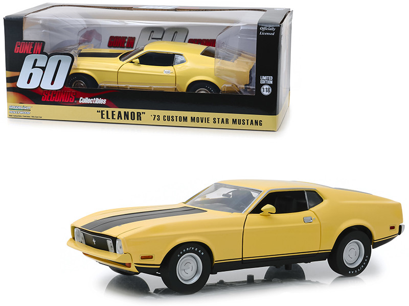 1973 Ford Mustang Mach 1 Custom Movie Star Eleanor Yellow Black Stripe Gone in 60 Seconds 1974 Movie 1/18 Diecast Model Car Greenlight 12910