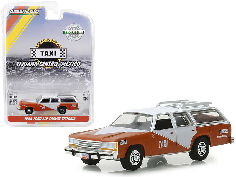 1988 Ford LTD Crown Victoria Wagon Roof Rack Tijuana Centro Mexico Taxi Brown White Hobby Exclusive 1/64 Diecast Model Car Greenlight 30026