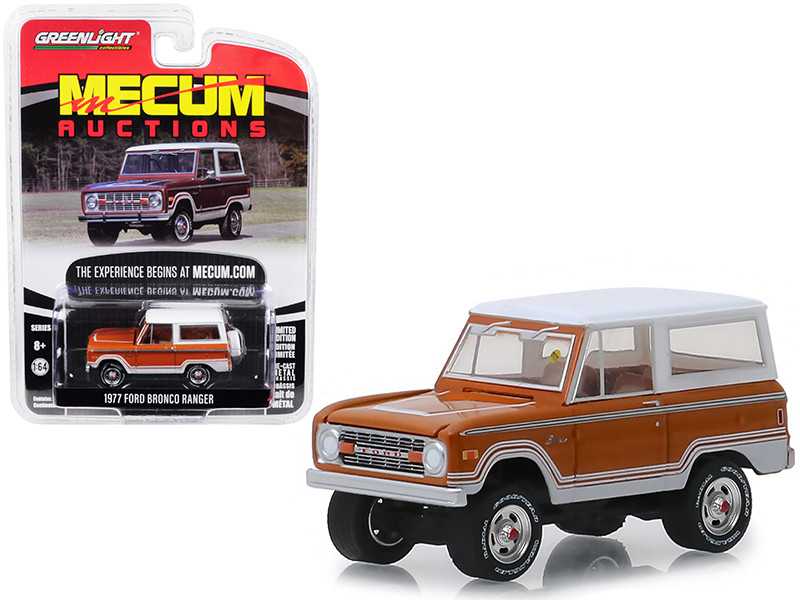 1977 Ford Bronco Ranger Cinnamon Brown White Indianapolis 2018 Mecum Auctions Collector Cars Series 3 1/64 Diecast Model Car Greenlight 37170 E