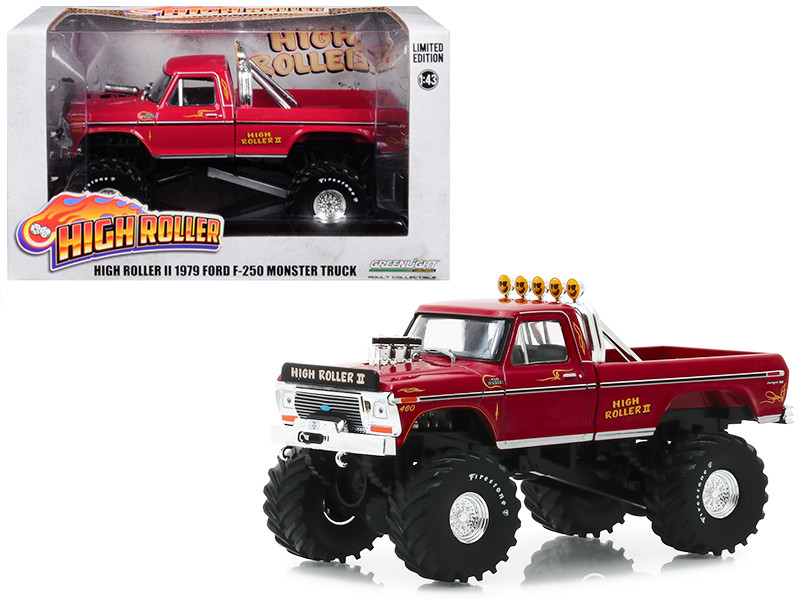 1979 Ford F-250 Ranger XLT Monster Truck High Roller II Burgundy 1/43 Diecast Model Car Greenlight 86162