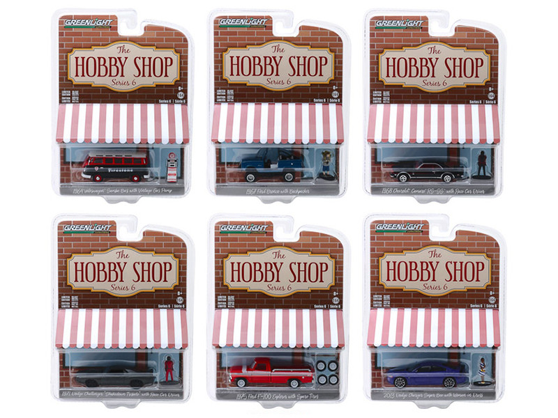 The Hobby Shop Series 6 Set 6 Cars 1/64 Diecast Models Greenlight 97060