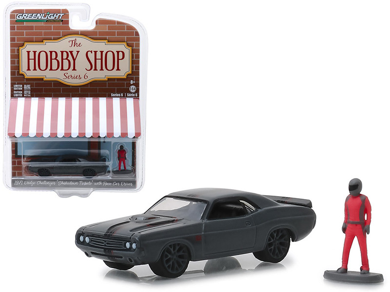 1971 Dodge Challenger Shakedown Tribute SEMA Concept Metallic Gray Race Car Driver Figure The Hobby Shop Series 6 1/64 Diecast Model Car Greenlight 97060 D