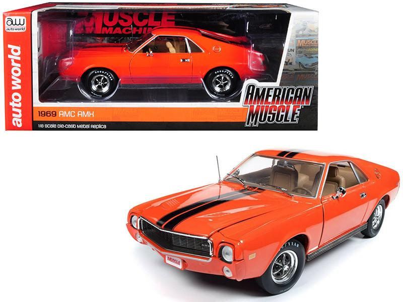 1969 AMC AMX Hardtop Big Bad Orange Black Stripes Hemmings Muscle Machines Limited Edition 1002 pieces Worldwide 1/18 Diecast Model Car Autoworld AMM1170