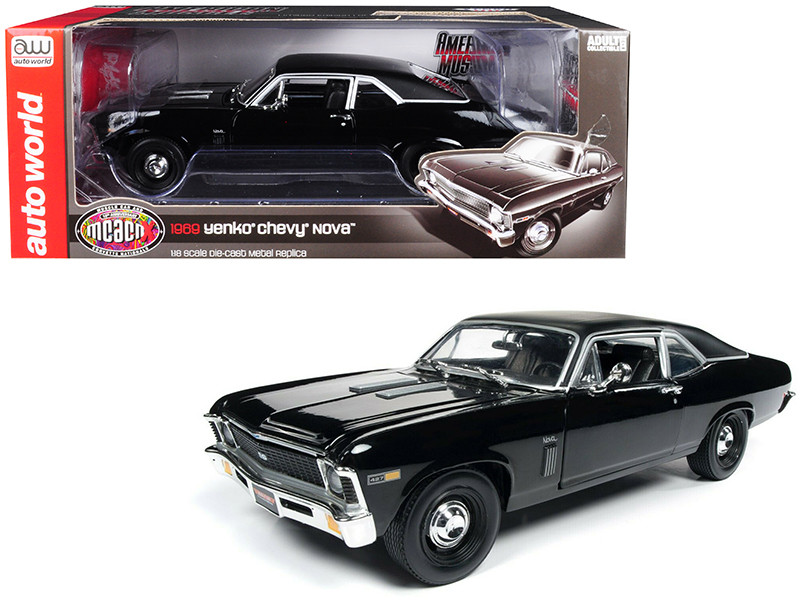 1969 Chevrolet Yenko Nova SS Gloss Black Matt Black Top MCACN 10th Anniversary Muscle Car Corvette Nationals Limited Edition 1002 pieces Worldwide 1/18 Diecast Model Car Autoworld AMM1178