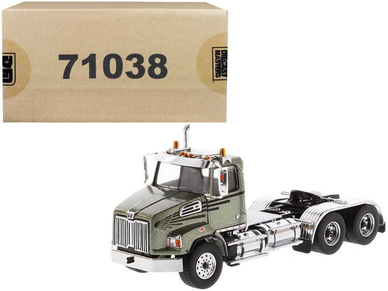 Western Star 4700 SB Tandem Day Cab Tractor Metallic Olive Green 1/50 Diecast Model Diecast Masters 71038
