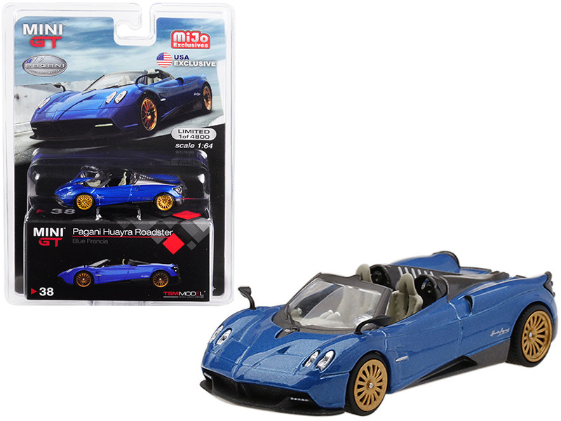 Pagani Huayra Roadster Blue Francia USA Exclusive Limited Edition 4800 pieces Worldwide 1/64 Diecast Model Car True Scale Miniatures MGT00038