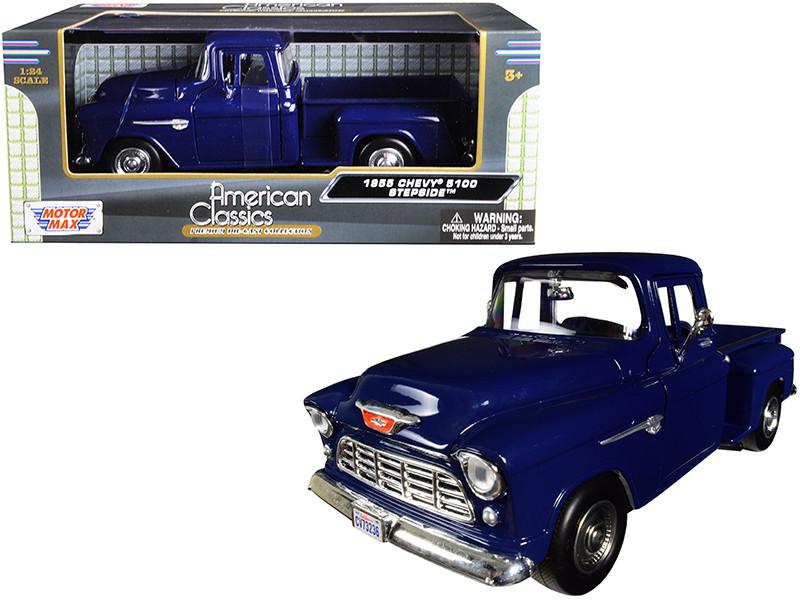 1955 Chevrolet 5100 Stepside Pickup Truck Blue 1/24 Diecast Model Car Motormax 73236