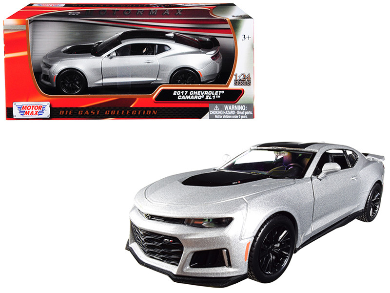 2017 Chevrolet Camaro ZL1 Silver Black Stripe 1/24 Diecast Model Car Motormax 79351