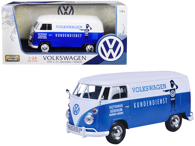 Volkswagen Type 2 T1 Delivery Van Autohaus Sudekum Kundendienst Candy Blue White 1/24 Diecast Model Car Motormax 79573