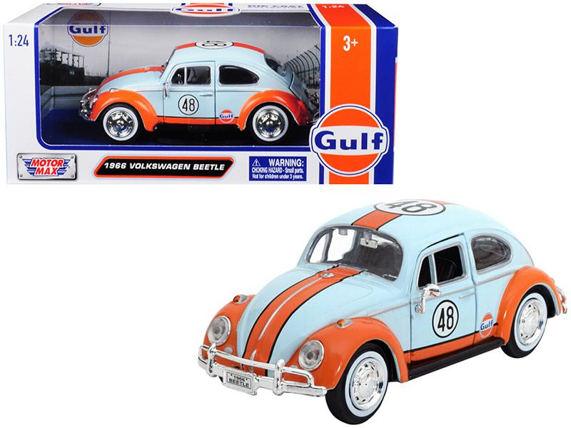 1966 Volkswagen Beetle #48 Gulf Livery Light Blue Orange Stripe 1/24 Diecast Model Car Motormax 79655
