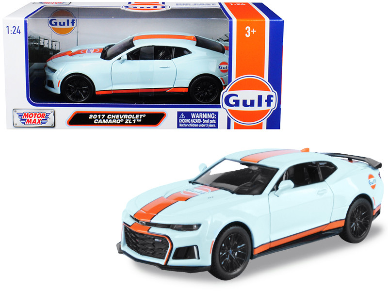 2017 Chevrolet Camaro ZL1 Gulf Livery Light Blue Orange Stripe 1/24 Diecast Model Car Motormax 79656