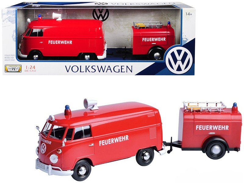 Volkswagen Type 2 T1 Fire Van Fire Fighting Trailer Feuerwehr Red 1/24 Diecast Model Car Motormax 79671