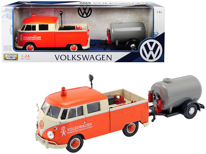 Volkswagen Type 2 T1 Pickup Truck Orange Cream Oil Trailer Road Service 1/24 Diecast Model Car Motormax 79674