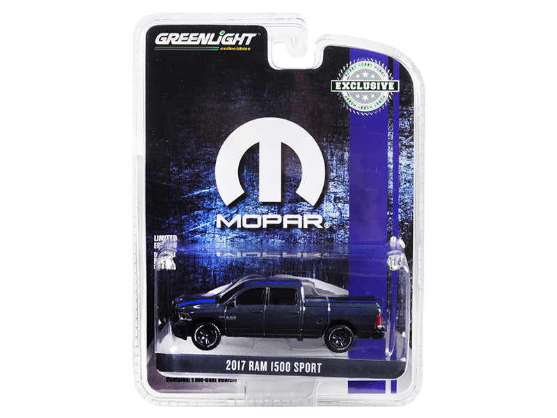 2017 RAM 1500 Sport Pickup Truck Bed Cover Metallic Dark Blue Blue Stripe MOPAR Hobby Exclusive 1/64 Diecast Model Car Greenlight 30013