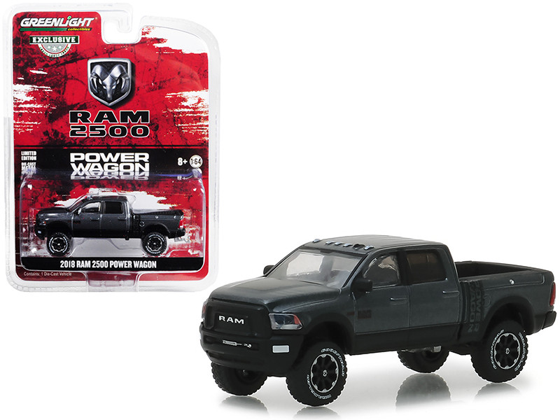 2018 Dodge Ram 2500 Power Wagon Pickup Truck Granite Crystal Dark Gray Hobby Exclusive 1/64 Diecast Model Car Greenlight 30015