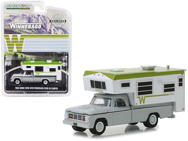 1966 Dodge D100 Gray Winnebago Slide-In Camper White Green Hobby Exclusive 1/64 Diecast Model Car Greenlight 30022