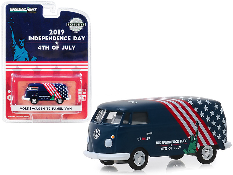 Volkswagen T2 Panel Van 4th of July Independence Day 2019 Hobby Exclusive 1/64 Diecast Model Greenlight 30044