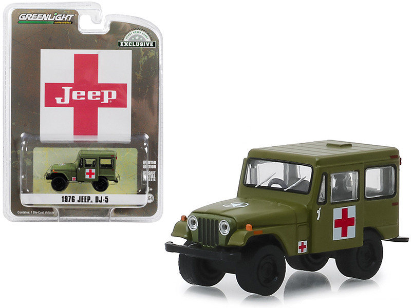 1976 Jeep DJ-5 Army Green Medical Unit Hobby Exclusive 1/64 Diecast Model Car Greenlight 30051