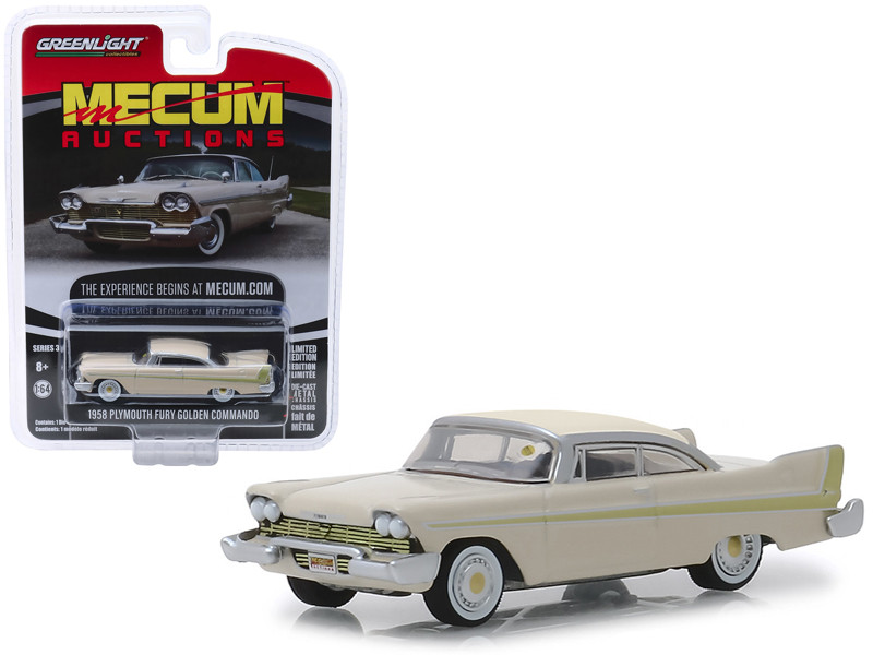 1958 Plymouth Fury Golden Commando Beige Kissimmee 2012 Mecum Auctions Collector Cars Series 3 1/64 Diecast Model Car Greenlight 37170 B